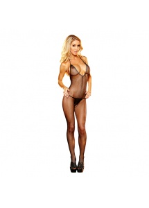 Bodystocking z dekoltem - Lapdance Deep V Crotchless Bodystocking Black S/M